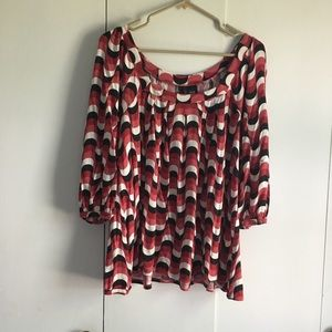 Red, Black, and White Casual Blouse